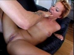 Red head Emily Davinci sucking a huge hard dick
