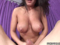 Pretty Charlee Chase squeezes a long cock for more cum
