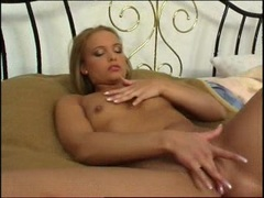 Sexy blonde Tiffany Rose loves to rub her pink slits till she cums