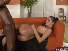 Horny oiled babe Tori Black gets her wet pussy rammed hard by a big black dong