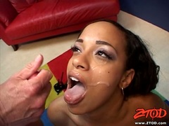 Sexy brunette babe Nautica gets her face glazed with sticky jizz
