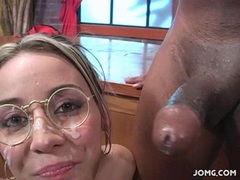 Delilah Strong receives a dripping load of cum on her face