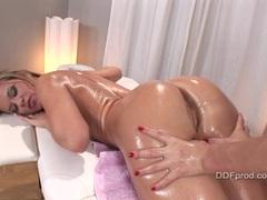 Stunning babe Eufrat oils up her yummy lesbian girlfriend