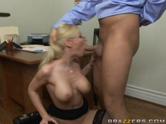 Busty Helena White stuffs her mouth with a fresh cock