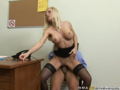 Helena White gets her glasses jizzed by a meaty cock