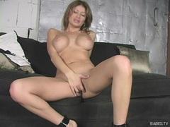 Busty latin babe Lisa Daniels masturbating her wet fat pussy