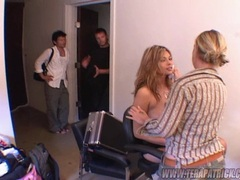 Hot busty babe Tera Patrick getting ready backstage