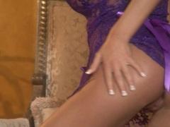 Cutie Mandy Lynn stripping her sexy purple lingerie