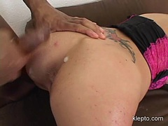 Cute babe Hailey Young receives a pure load of sticky jizz on her butt