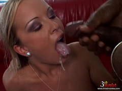 Cute Jessica Moore gets her mouth dripping with cock juice