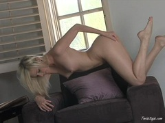 Sexy blonde Brea Bennet strips and spreads her sweet pink hole