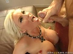 Beautiful hot bitch Diamond Foxxx gets a slimey cum on her warm mouth