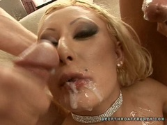 Scorching hottie Sabrina Rose gets a raining load of jizz all over her chest