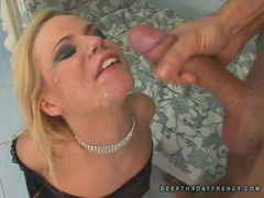 Deliciously sexy Yasmine Gold receives a messy load of jizz on her face