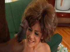 Michelle Avanti receives a slimey load of jizz oozing on her mouth
