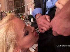 Pretty blond pornstar Kathia Nobili enjoys a blowjob action