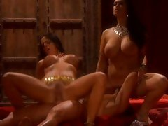 Busty babes Carmella Bing and Mikayla enjoys a hardcore threesome action