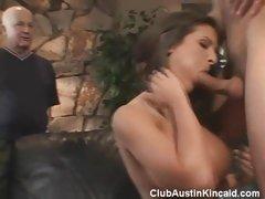 See hot babe Austin Kincaid sucks and rides a long meaty prick