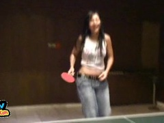Cure Simone Peach shows her tits and enjoys playing ping pong