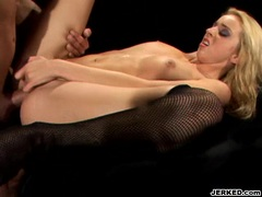 Fishnetted whore Kelly Wells loves to take a hard cock in anally