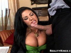 Busty tattooed babe Mason Moore eagerly takes a long dick in her juicy mouth