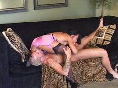 Heavy titted Cherokee teases a huge cock with her tight pussy till it blows