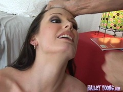 Sexy brunette Hailey Young fucked hard and gets a creamy warm mouthful