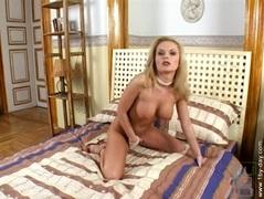 Blonde Chloe Sweet finger fucks her tight pussy
