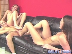 Teenie babes Hailey Young and friend footjob action and gets jizzed