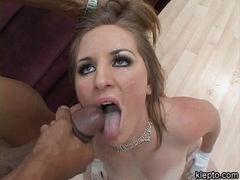 Blonde lusty whore Kinzie Kenner gets facialized after a hard fuck