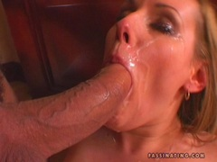 Lusty whore Jenny Blair receives a blast of jizz splashed on her face