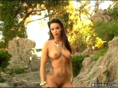 Hot curie Natalia Cruze flashing her perfect tits and hot curves outdoors