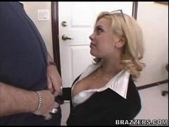 Hot blonde office slut Starla Sterling munches a massive cock with pleasure