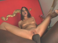 Exotic hardcore babe Jayna Oso gets her tight holes ripped by two monster cocks