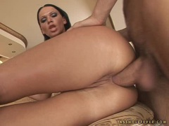 Lusty whore Christina Bella sipping a cock clean from cum