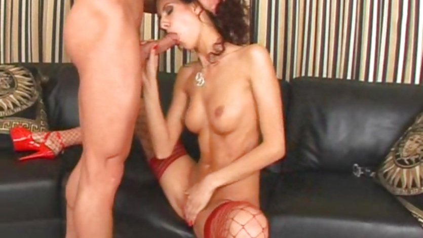 Slim redhead Leanna Sweet stuffs her mouth with an awesome cock