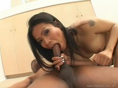 Sexy asian with great body Priva gagging and banging a monster black cock