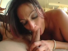 Black haired honey Ava Lauren tilting her head for a warm cum blast