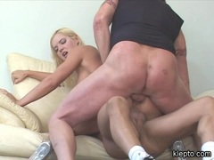Cock greedy Barbara Summers gets double boned on her holes in the couch