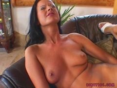 Lusty lesbian Mia Stone and hot friend sharing a hard toy plugged in their pussy