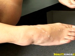Seductive whore Carmella Bing gets her slender feet jizzed by a meaty cock