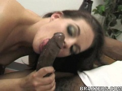 Tall and sexy Crissy Cums swallowing a massive hard black dong
