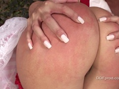 Lusty whore Mandy Bright spanking Maria's bubble butt red and enjoys it