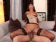 Sexy hot Valentina Rossini bounces her twat on a snake like cock on the couch