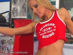 Pretty blonde whore Vega Vixen pops out her meaty butt cheeks and loves it