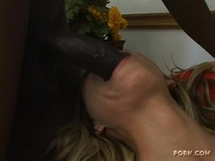 Busty hot Anna Nova taking a long black cock in and out her mouth