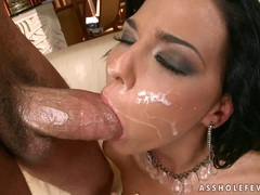 Elegantly nasty Simony Diamond gets her face glazed with cock sauce and loves it