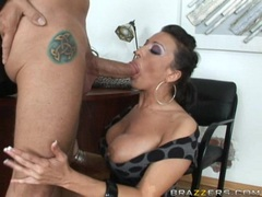 Bitchy hot Ricki Whitestuffs her mouth with a juicy fat cock