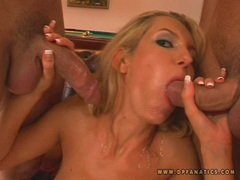 Sexy blondie Eleanor receives a loadful of cock cream on her mouth