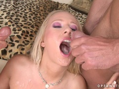 Sexy pornstar Carla Cox gets a mouthful of cum after a nice group fucking action